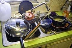 disinfestazione blatte Roma: per prevenire lavare i piatti sporchi la sera.